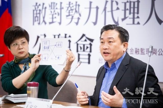 民進黨立委王定宇(右)表示,「代理人法」就是要保護台灣安全,免於中共紅色滲透。圖為資料照。(記者陳柏州/攝影)