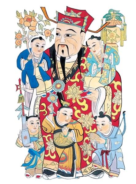 古時人們在中國新年到來前夕,在室內貼年畫,戶上貼門神。年畫包含對眾神及祖先的敬意,祈福避邪的意願。(大紀元資料照)