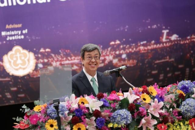 與各國推動司法合作、實現司法正義,副總統陳建仁12日表示,台灣持續守護印太區域的和平穩定 絕不以侵害人權方式打擊犯罪。(總統府提供)