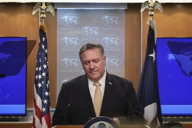 美國國務卿蓬佩奧(Mike Pompeo)表示,美國對香港的暴力加劇極度擔心。(Drew Angerer/Getty Images)