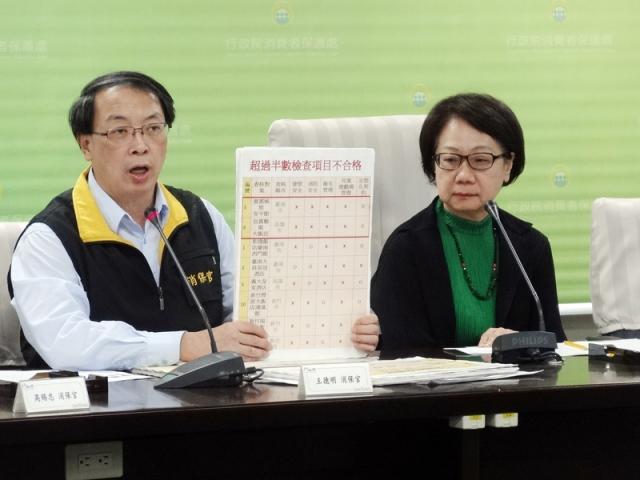 行政院消保處查核24家親子飯店,消保官王德明 (左)表示,有22家、逾9成不合格。(中央社)