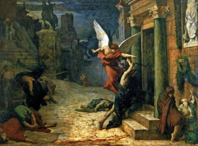 《被瘟疫侵襲的羅馬城》,法國德洛內1869年作,巴黎奧塞美術館藏。(藝術復興中心提供)