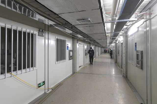 2020年2月2日,火神山醫院的病房一景。該醫院在當天交由軍方接管。(STR/AFP)