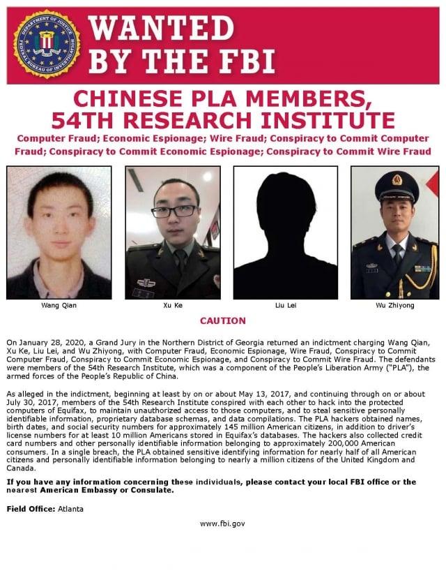 美國聯邦調查局通緝4名中共駭客。(FBI)