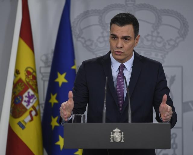 西班牙總理桑傑士(Pedro Sanchez)3月14日宣布全國封鎖,應對疫情。圖為資料照。(PIERRE-PHILIPPE MARCOU / AFP)