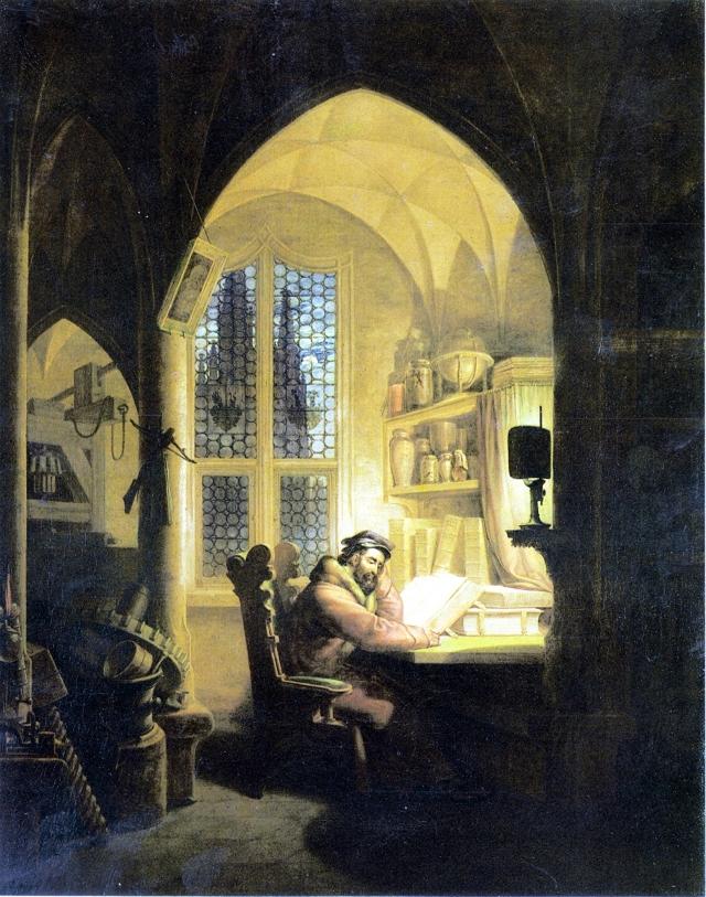 《書房中的浮士德》,德國畫家Georg Friedrich Kersting創作於1829年。(公有領域)