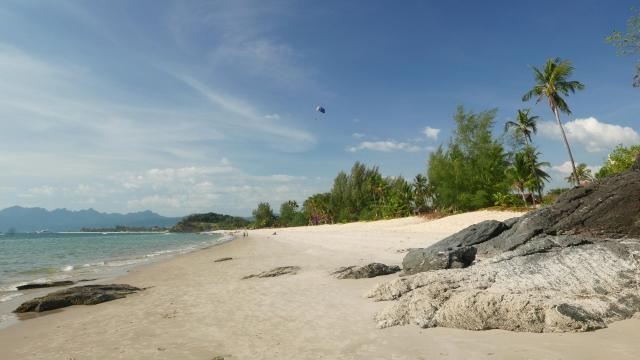 蘭卡威島珍南海灘景觀。(維基百科/NickLubushko)