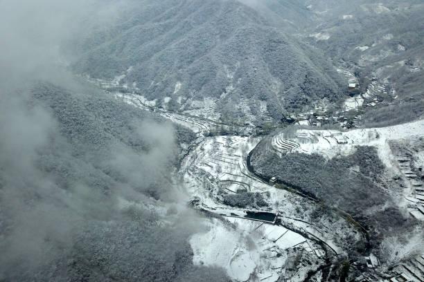 河北降雪,圖為4月10日所攝。(Getty Images)