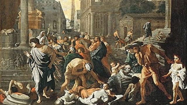 尼古拉斯.普桑Nicolas Poussin (1594~1665)1630年油畫《阿什杜德的瘟疫》(The Plague of Ashdod),法國。(維基百科)