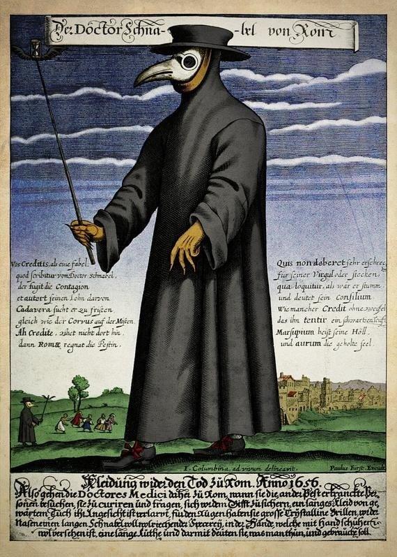 16世紀,路易十三的御醫Charles de Lorme發明了鳥嘴面具。當時民間普遍認為,瘟疫是形似鳥的惡靈纏身,而形象更為凶惡的鳥嘴面具能夠驅趕惡靈。(維基百科)
