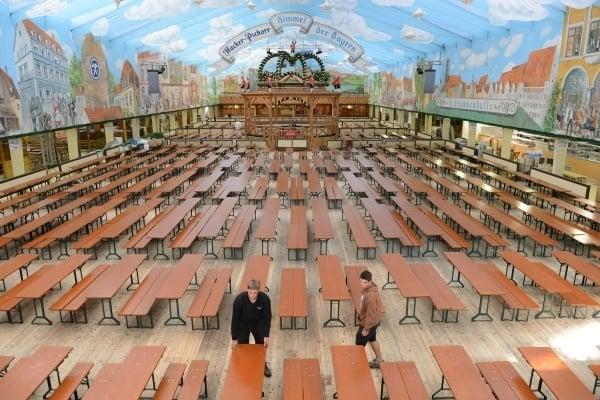今年慕尼黑十月節(啤酒節)因中共病毒疫情停辦。圖為啤酒大棚。(AFP)