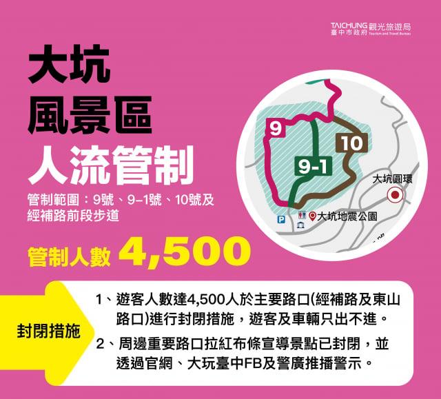 民眾出門前,可先上網觀看連結,大坑限制4,500人流。、