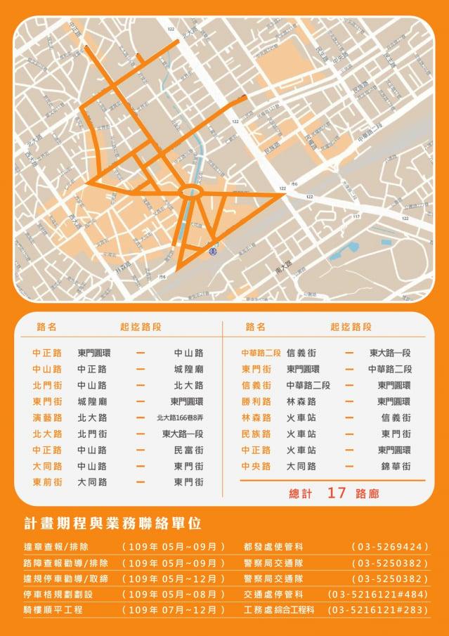 新竹市政府啟動新竹市騎樓順平計畫,第一階段將針對火車站前、舊城區17條路段,全面淨空騎樓違章佔用、違規路障、違規停車,騎樓高低差也將整平。