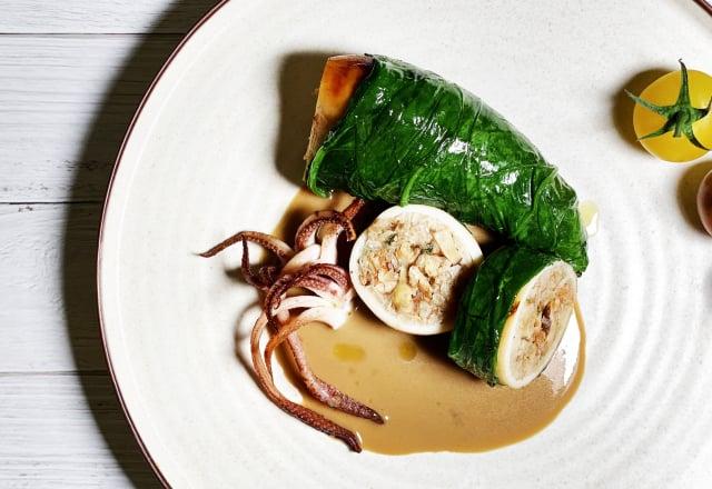 法式端陽粽,以燉飯鑲填澎湖透抽,激發創意風味。(業者提供)