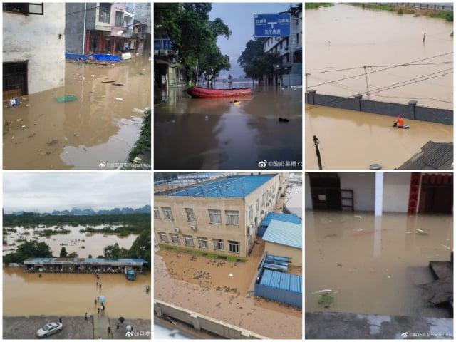 廣西持續強降雨產生洪澇災害,多地被淹。(微博圖片合成)