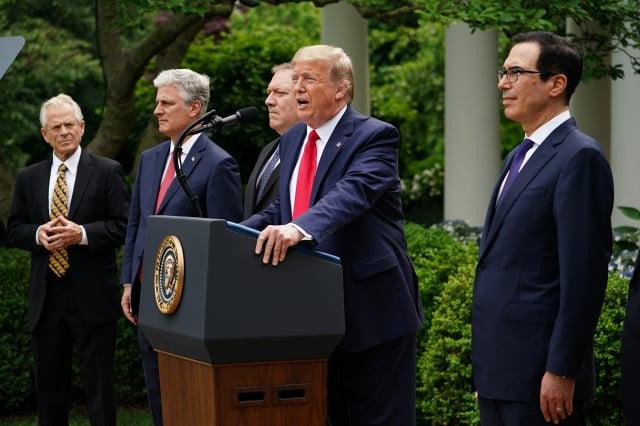 2020年5月29日,美國總統川普在白宮宣布對中共進行制裁方案。(MANDEL NGAN/AFP)