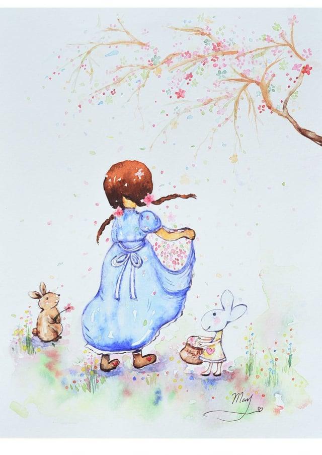 施雪紅的作品充滿童趣、溫馨可愛,被稱為療癒系淡彩畫家。