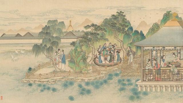 清朝孫溫所繪《紅樓夢》第38回。(維基百科)