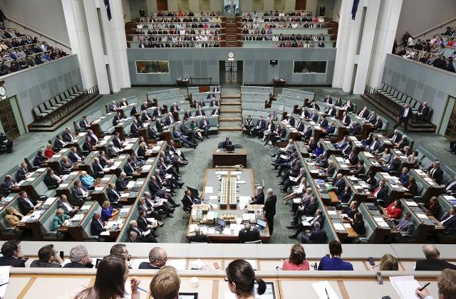 因應《港版國安法》引發的各種風險,澳洲政府可能會取消與香港之間的引渡條約。圖為澳洲國會大廈內的聯邦眾議院會議大廳。(Stefan Postles/Getty Images)