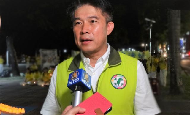 屏東法輪功學員反迫害,屏東縣議員李世斌到場聲援。