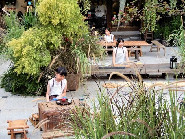 被藍染、欉草圍繞的茶席體驗區,老老少少們拾級而座,與小小司茶人一起凝神、沏茶、奉茶。
