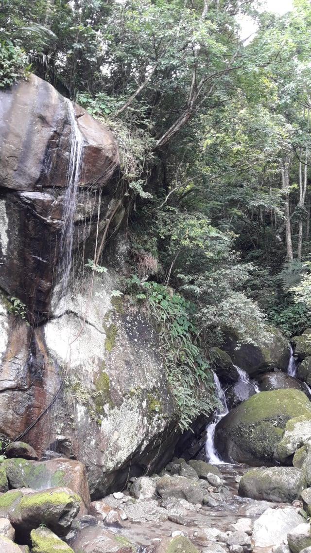 太久沒下雨,左邊虹橋瀑布幾乎乾涸。(攝影/王知涵)