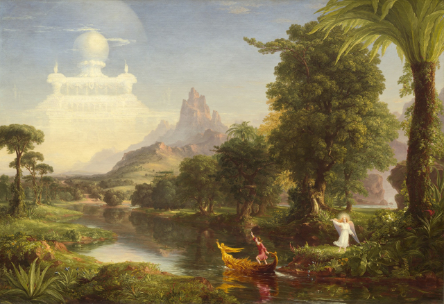 Thomas Cole,《生命之旅-青年 》。(公有領域)
