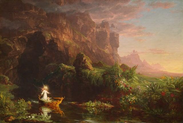 Thomas Cole,《生命之旅-童年》。(公有領域)