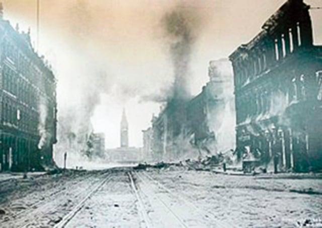 1906年地震後,繁華的Market街成空城。(YouTube Mike Upchurch/影片截圖 )
