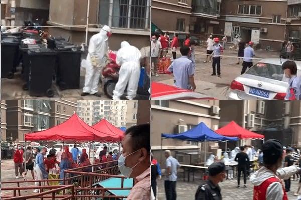 7月27日,大連的疫情已擴散到北京。圖為北京天通苑三區的所在樓區居民排隊進行核酸檢測。(網路影片擷圖)