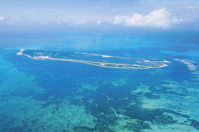 空中俯瞰東沙島。(海洋國家公園提供)