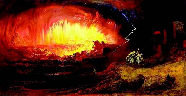 索多瑪與蛾摩拉的毀滅,John Martin繪於1852年。(維基百科)