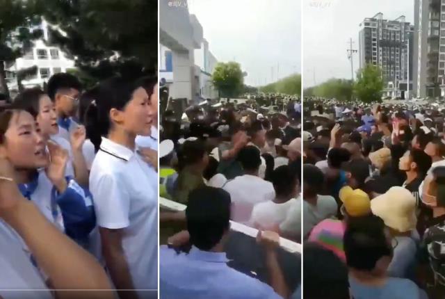 內蒙古當局宣佈當地蒙語授課學校改採漢語教學後,當地爆發大規模的「公民不服從」運動,數萬學生和家長發起罷課及抗議集會。(網路影片擷圖)