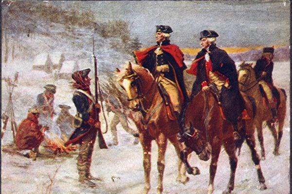 華盛頓將軍與拉法葉特侯爵在福吉谷。(維基百科)