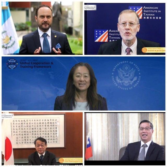 各主辦方代表致詞。中間:美國務院西半球事務局首席副助卿Julie_Chung。右上:AIT處長酈英傑。左上:瓜地馬拉外交部長布羅洛。