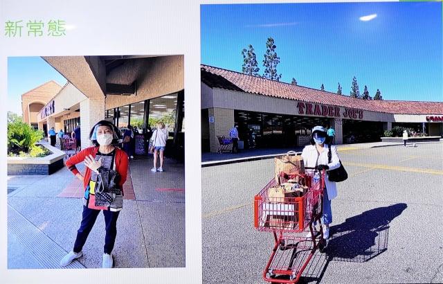 雷洛美以她在美國洛杉磯的生活來說,每次到超市購物都要全副武裝,口罩、護目鏡、帽子、手套都要戴好戴滿,才敢出門購物。(雷洛美提供)