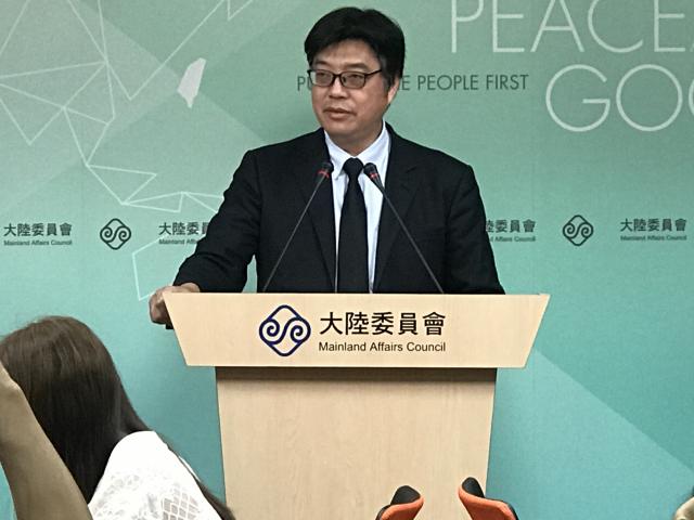 陸委會發言人邱垂正17日表示,台灣公職科研人員、教育人員參加「千人計劃」情形,教育部正在清查中。(記者李怡欣/攝影)