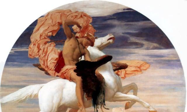 弗雷德里克·雷頓(Frederic Leighton)的作品《波修斯騎著飛馬趕去解救安朵美達》,約西元1895~96年。新沃克博物館,英國。(公有領域-USD/PD-US)