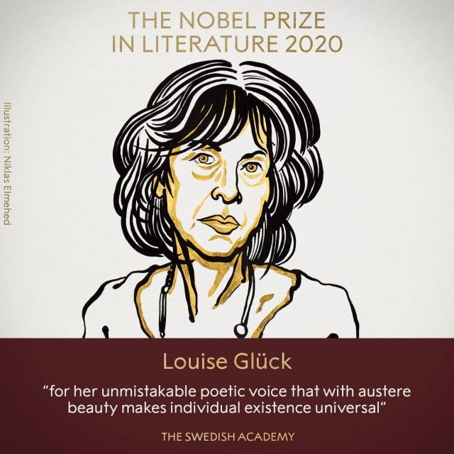 2020年諾貝爾文學獎得主8日揭曉,由美國女詩人葛綠珂(Louise Gluck)獲得殊榮。(諾貝爾獎推特)
