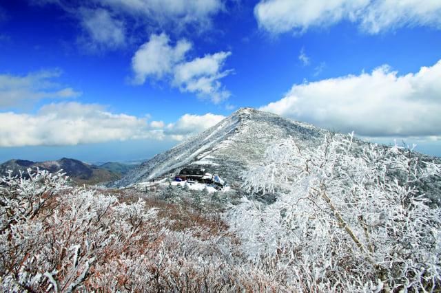 冬季從襄陽郡眺望白雪皚皚的雪嶽山美景。(江原道襄陽郡提供)
