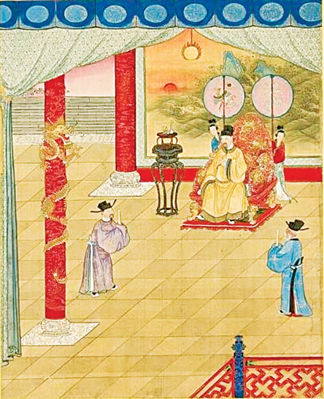 唐代上朝高官要帶著隨身魚符。圖為《清陳士倌聖帝 明王善端錄冊 ‧ 唐太宗三》(公有領域)