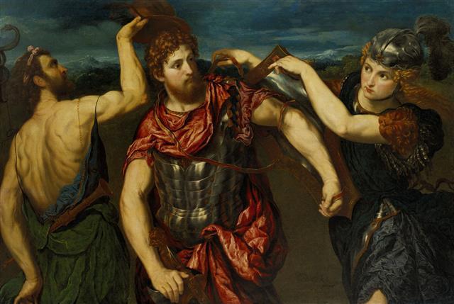 巴里斯·博爾多內(Paris Bordone)的作品《荷米斯和雅典娜替波修斯武裝》。山繆·亨利·卡瑞斯(Samuel Henry Kress)贈送。波明翰藝術博物館,伯明翰,亞拉巴馬。(公有領域-美國,PD-US)