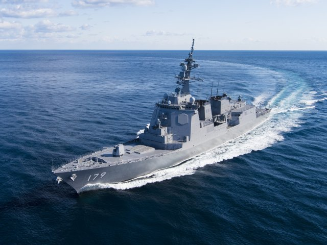 日本的摩耶级驱逐舰首艦摩耶號(JS Maya)。(日本海上自衛隊)