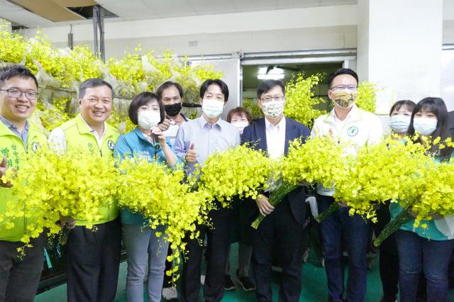 賴清德副總統到臺中大坑,首站先到「文心蘭生產外銷產銷包裝場」關心文心蘭外銷作業。(記者鄧玫玲/攝影)