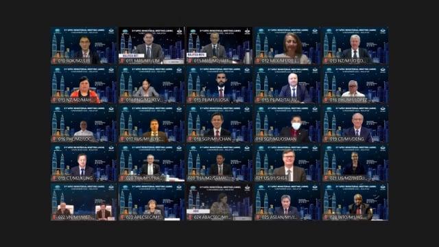 亞太經濟合作會議(APEC)部長級年會已於臺北時間11月16日晚間8時至17日零時40分以視訊會議方式舉行,APEC的21個會員體均參與討論。