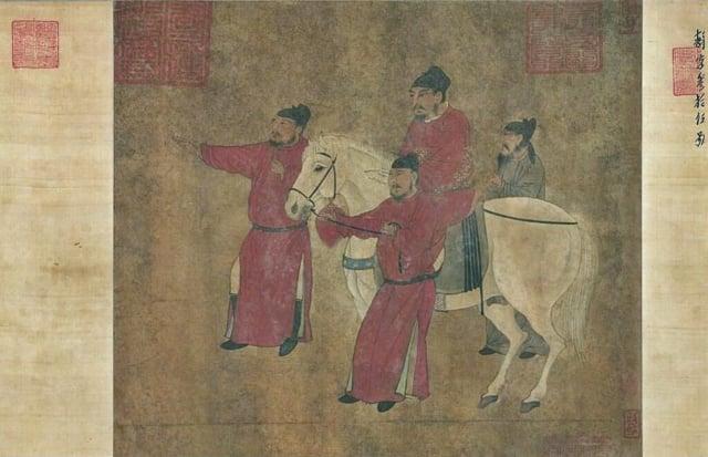 唐人《明皇調馬圖》卷。(維基百科)