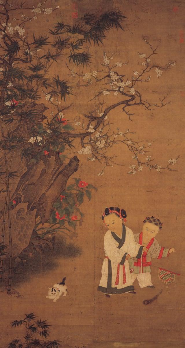 《冬庭嬰戲圖》 宋 蘇漢臣 軸 絹本設色 198公分x107公分 臺北國立故宮博物院藏。(維基百科)