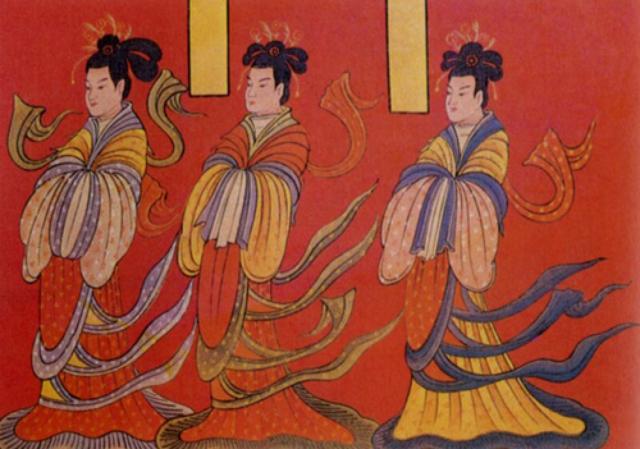北魏前期,屏風漆畫《列女古賢圖》局部梳十字髻穿雜裾的女子。(維基百科)