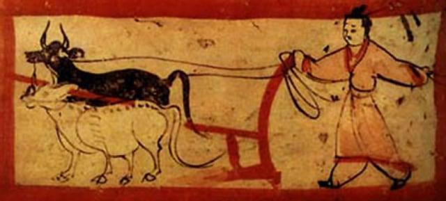 《耕犁圖》,魏晉磚畫。(維基百科)
