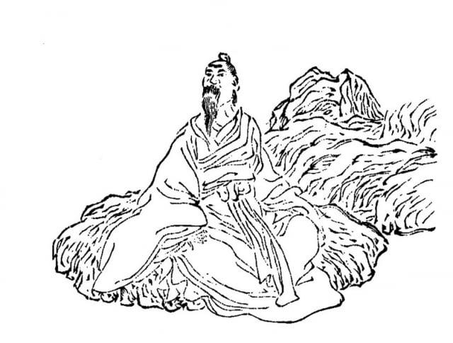 《列仙酒牌》中所繪的黃石公。(公有領域)